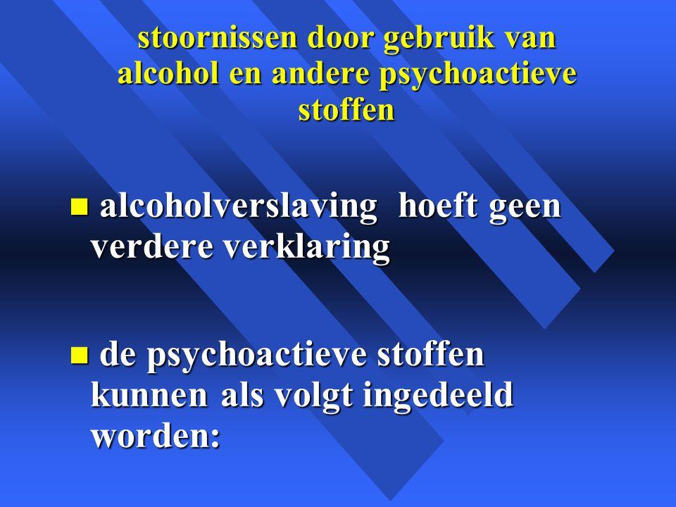 stoornissen door gebruik van alcohol en andere psychoactieve stoffen n alcoholverslaving hoeft geen verdere verklaring n de psychoactieve stoffen kunnen als volgt ingedeeld worden: