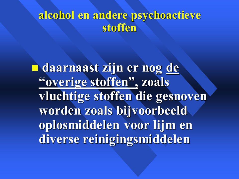 alcohol en andere psychoactieve stoffen n daarnaast zijn er nog de overige stoffen , zoals vluchtige stoffen die gesnoven worden zoals bijvoorbeeld oplosmiddelen voor lijm en diverse reinigingsmiddelen