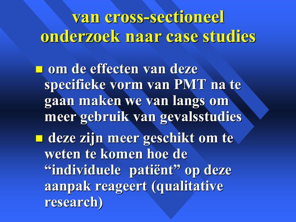 van cross-sectioneel onderzoek naar case studies n om de effecten van deze specifieke vorm van PMT na te gaan maken we van langs om meer gebruik van gevalsstudies n deze zijn meer geschikt om te weten te komen hoe de individuele patiënt op deze aanpak reageert (qualitative research)