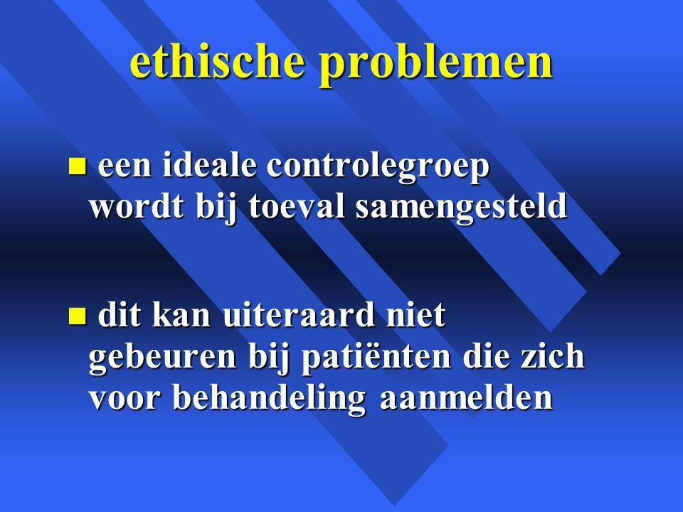 ethische problemen n een ideale controlegroep wordt bij toeval samengesteld n dit kan uiteraard niet gebeuren bij patiënten die zich voor behandeling aanmelden
