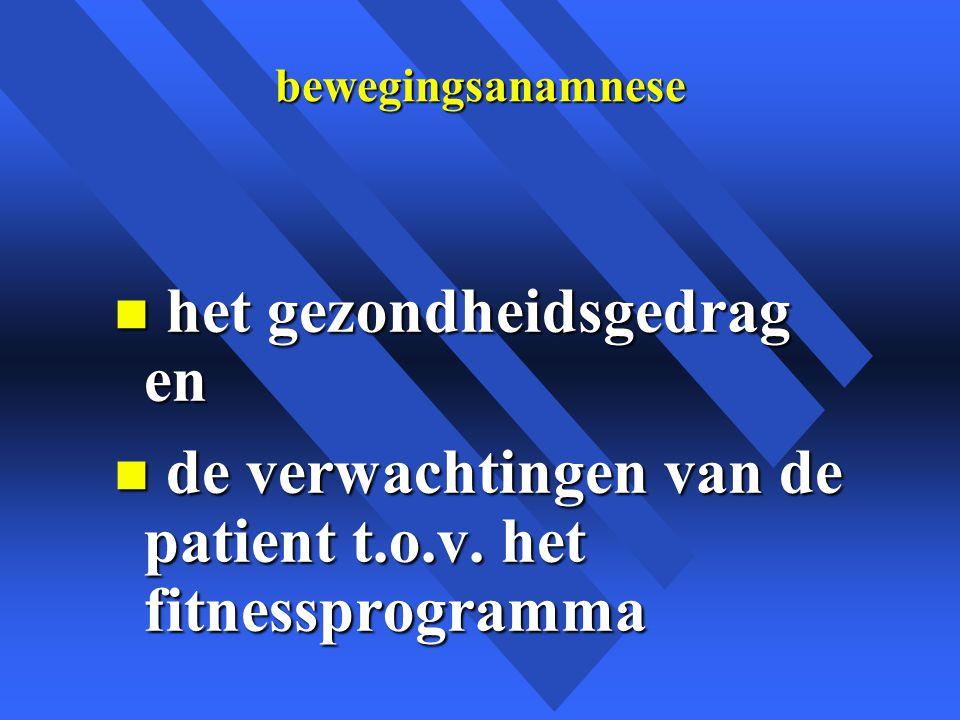 bewegingsanamnese n het gezondheidsgedrag en n de verwachtingen van de patient t.o.v.
