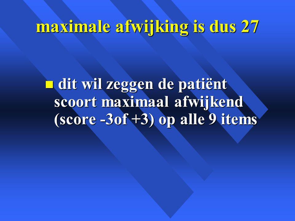 maximale afwijking is dus 27 n dit wil zeggen de patiënt scoort maximaal afwijkend (score -3of +3) op alle 9 items