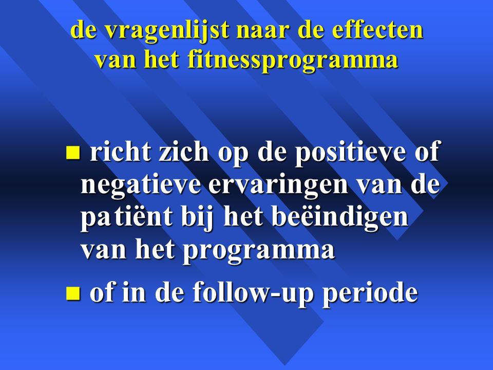 de vragenlijst naar de effecten van het fitnessprogramma n richt zich op de positieve of negatieve ervaringen van de patiënt bij het beëindigen van het programma n of in de follow-up periode