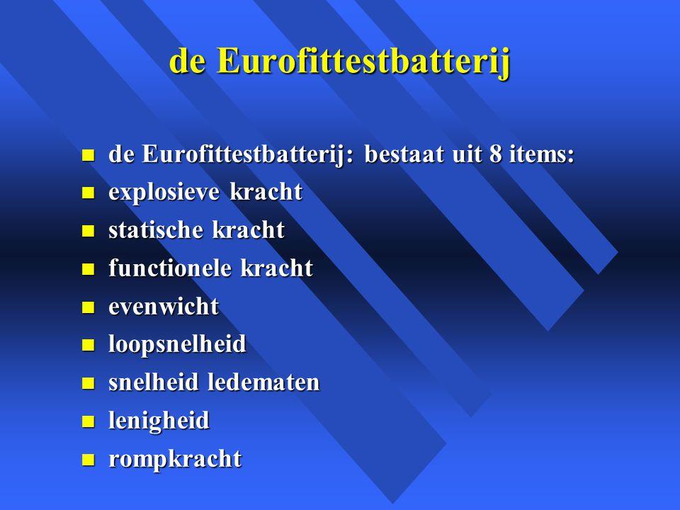 de Eurofittestbatterij n de Eurofittestbatterij: bestaat uit 8 items: n explosieve kracht n statische kracht n functionele kracht n evenwicht n loopsnelheid n snelheid ledematen n lenigheid n rompkracht