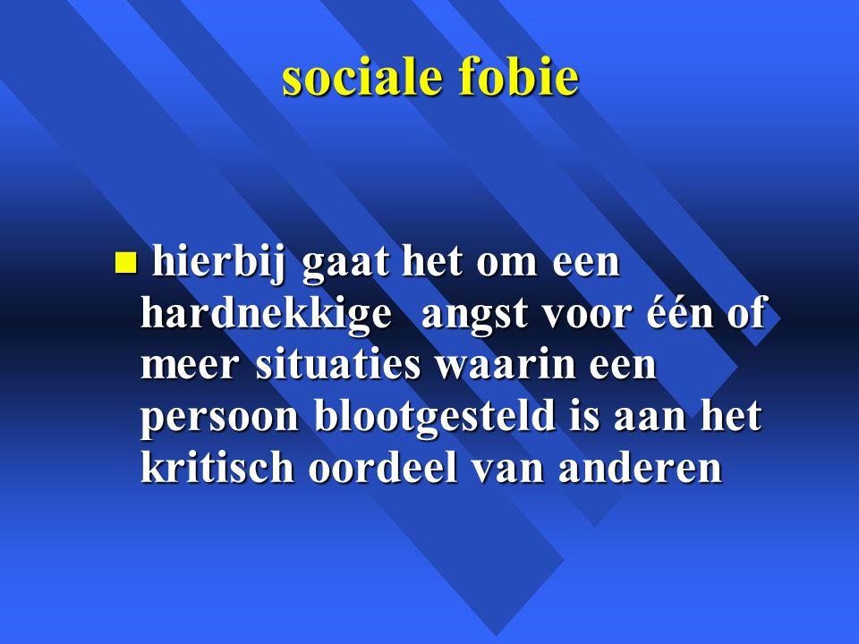 sociale fobie n hierbij gaat het om een hardnekkige angst voor één of meer situaties waarin een persoon blootgesteld is aan het kritisch oordeel van anderen