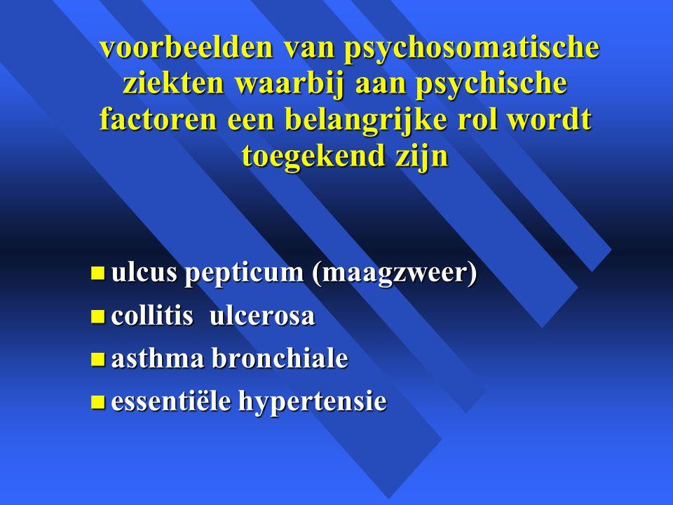 voorbeelden van psychosomatische ziekten waarbij aan psychische factoren een belangrijke rol wordt toegekend zijn voorbeelden van psychosomatische ziekten waarbij aan psychische factoren een belangrijke rol wordt toegekend zijn n ulcus pepticum (maagzweer) n collitis ulcerosa n asthma bronchiale n essentiële hypertensie
