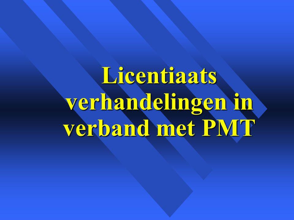 Licentiaats verhandelingen in verband met PMT