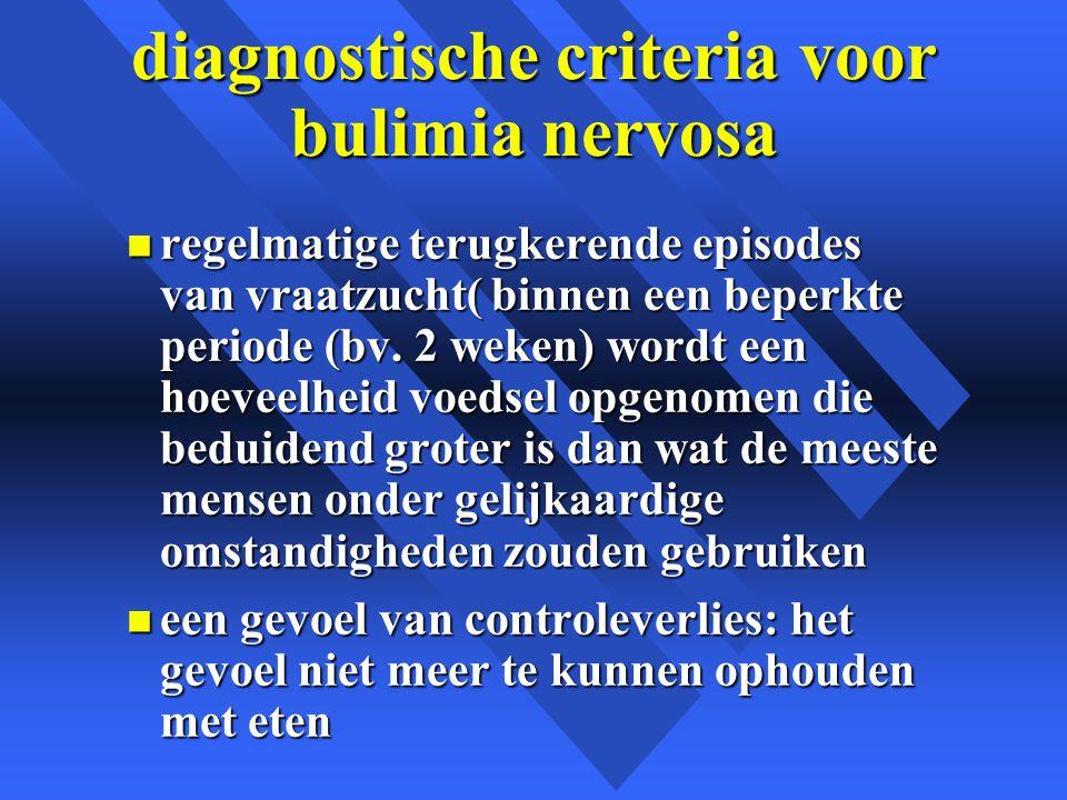 diagnostische criteria voor bulimia nervosa n regelmatige terugkerende episodes van vraatzucht( binnen een beperkte periode (bv.