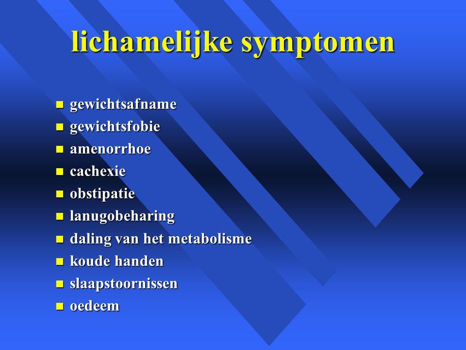 lichamelijke symptomen n gewichtsafname n gewichtsfobie n amenorrhoe n cachexie n obstipatie n lanugobeharing n daling van het metabolisme n koude handen n slaapstoornissen n oedeem