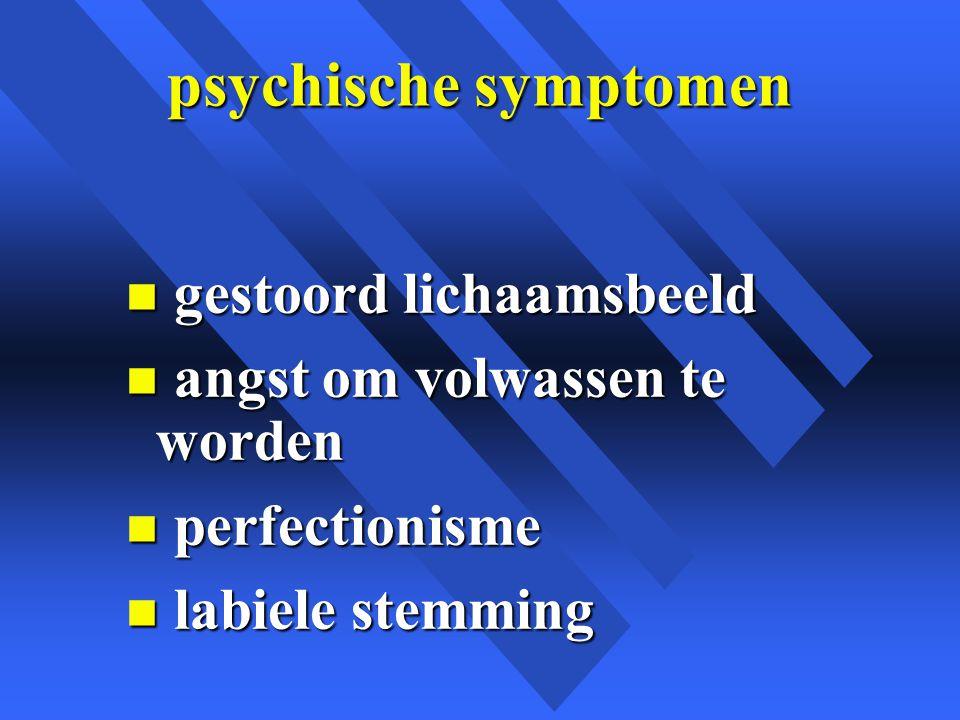 psychische symptomen n gestoord lichaamsbeeld n angst om volwassen te worden n perfectionisme n labiele stemming