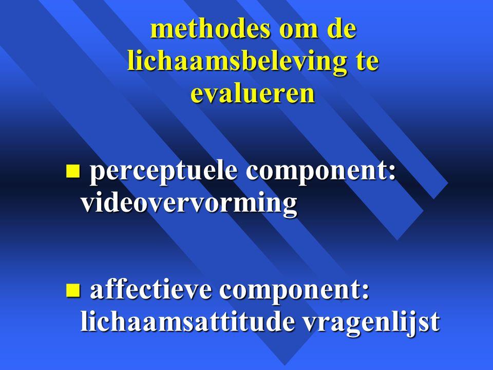 methodes om de lichaamsbeleving te evalueren n perceptuele component: videovervorming n affectieve component: lichaamsattitude vragenlijst