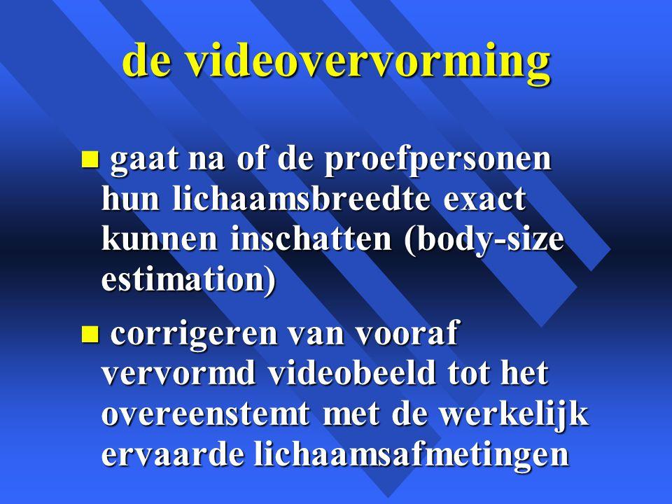 de videovervorming n gaat na of de proefpersonen hun lichaamsbreedte exact kunnen inschatten (body-size estimation) n corrigeren van vooraf vervormd videobeeld tot het overeenstemt met de werkelijk ervaarde lichaamsafmetingen