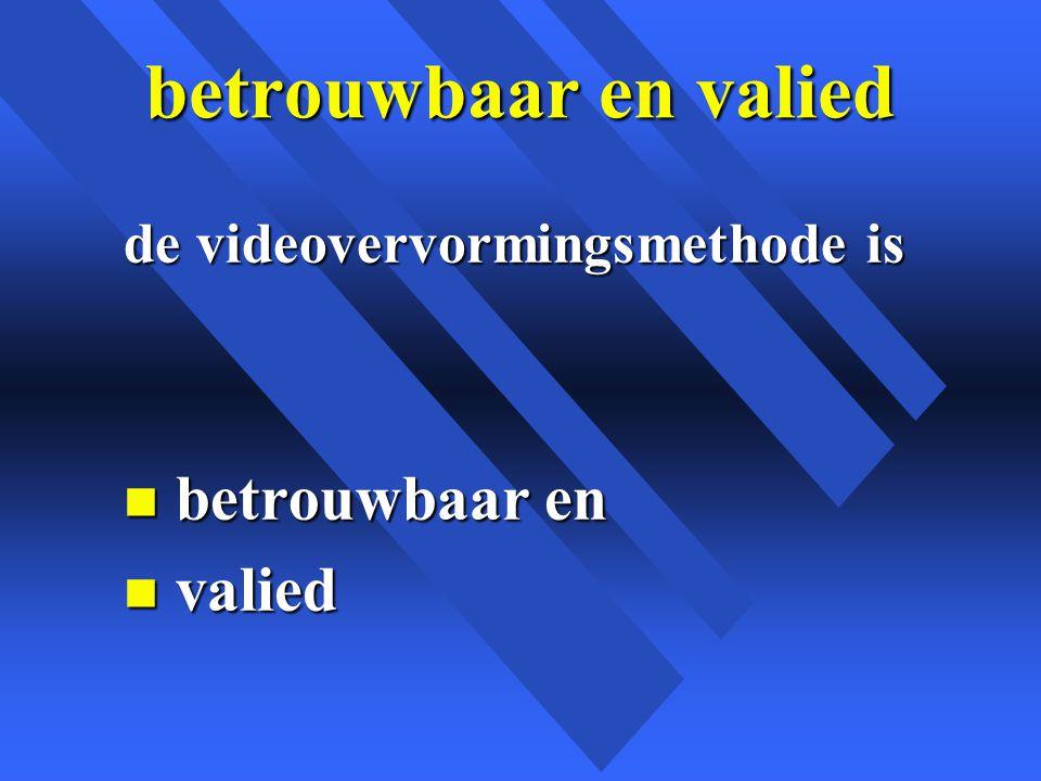 betrouwbaar en valied de videovervormingsmethode is n betrouwbaar en n valied