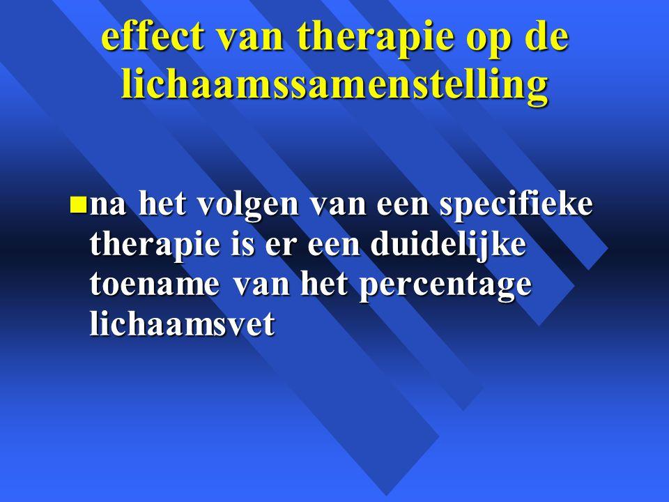 effect van therapie op de lichaamssamenstelling n na het volgen van een specifieke therapie is er een duidelijke toename van het percentage lichaamsvet