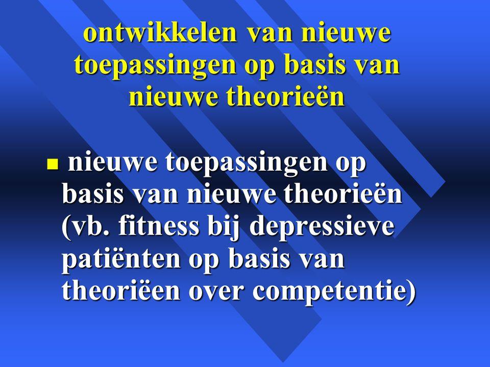 ontwikkelen van nieuwe toepassingen op basis van nieuwe theorieën n nieuwe toepassingen op basis van nieuwe theorieën (vb.