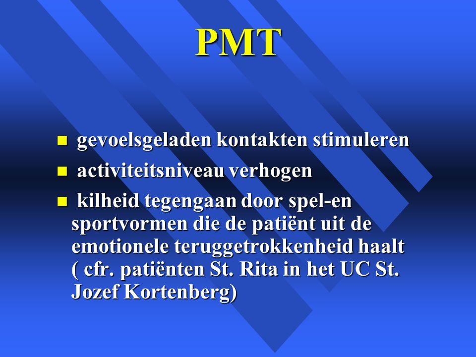 PMT n gevoelsgeladen kontakten stimuleren n activiteitsniveau verhogen n kilheid tegengaan door spel-en sportvormen die de patiënt uit de emotionele teruggetrokkenheid haalt ( cfr.