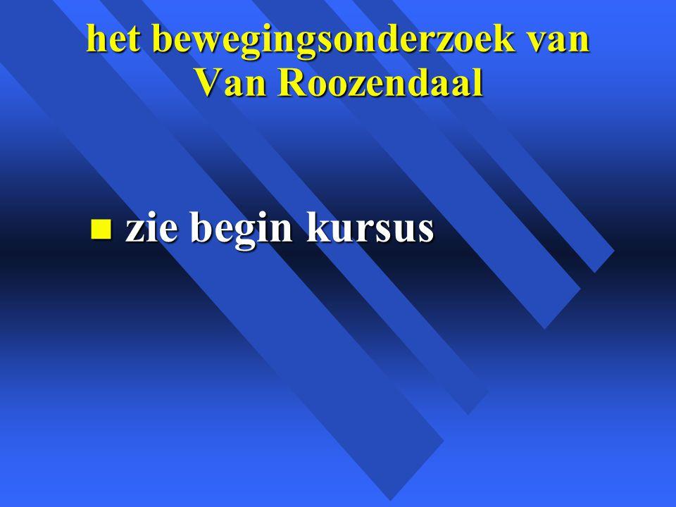 het bewegingsonderzoek van Van Roozendaal n zie begin kursus