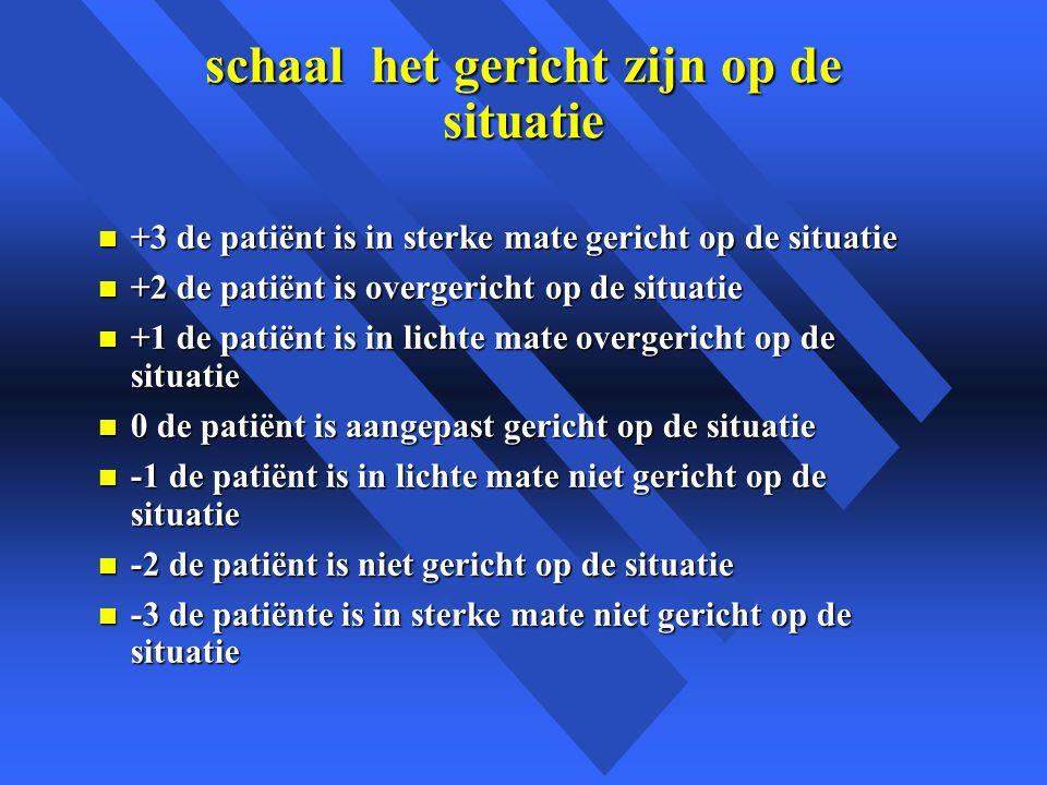 schaal het gericht zijn op de situatie n +3 de patiënt is in sterke mate gericht op de situatie n +2 de patiënt is overgericht op de situatie n +1 de patiënt is in lichte mate overgericht op de situatie n 0 de patiënt is aangepast gericht op de situatie n -1 de patiënt is in lichte mate niet gericht op de situatie n -2 de patiënt is niet gericht op de situatie n -3 de patiënte is in sterke mate niet gericht op de situatie