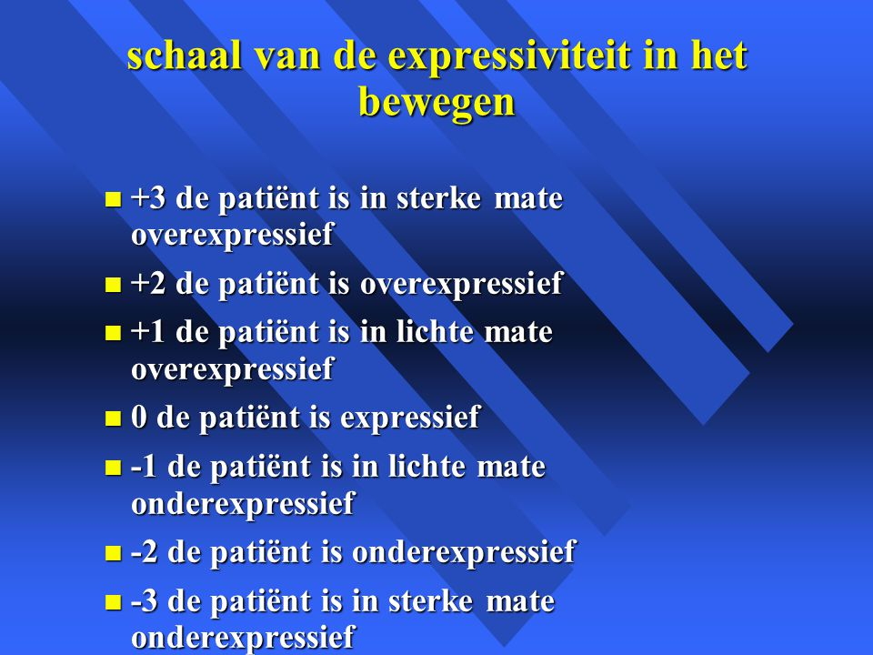 schaal van de expressiviteit in het bewegen n +3 de patiënt is in sterke mate overexpressief n +2 de patiënt is overexpressief n +1 de patiënt is in l