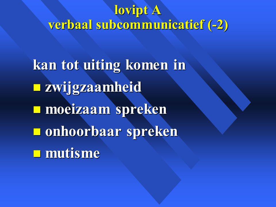 lovipt A verbaal subcommunicatief (-2) kan tot uiting komen in n zwijgzaamheid n moeizaam spreken n onhoorbaar spreken n mutisme
