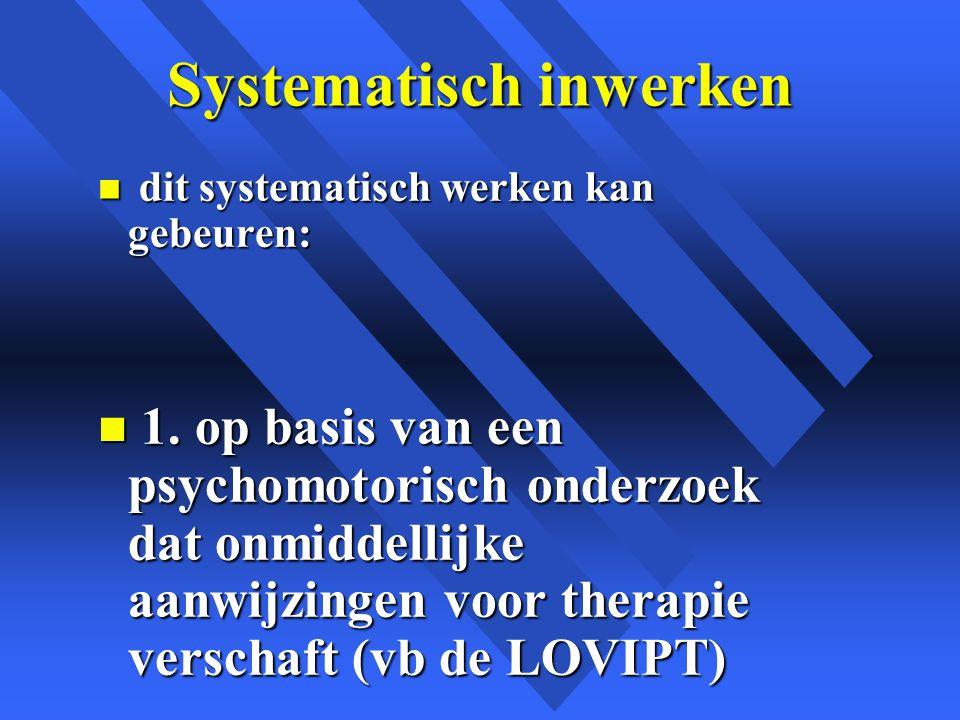 Systematisch inwerken n dit systematisch werken kan gebeuren: n 1.