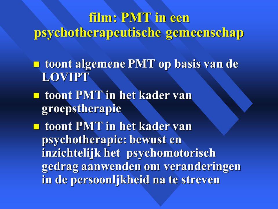 film: PMT in een psychotherapeutische gemeenschap n toont algemene PMT op basis van de LOVIPT n toont PMT in het kader van groepstherapie n toont PMT in het kader van psychotherapie: bewust en inzichtelijk het psychomotorisch gedrag aanwenden om veranderingen in de persoonljkheid na te streven