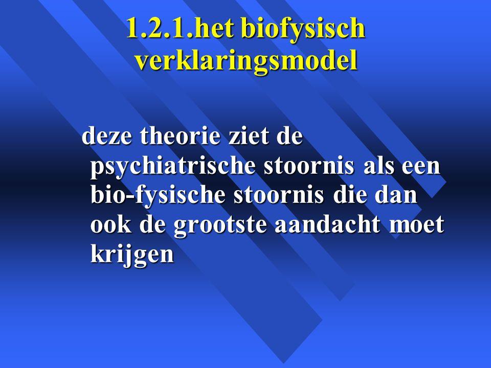 1.2.1.het biofysisch verklaringsmodel deze theorie ziet de psychiatrische stoornis als een bio-fysische stoornis die dan ook de grootste aandacht moet krijgen deze theorie ziet de psychiatrische stoornis als een bio-fysische stoornis die dan ook de grootste aandacht moet krijgen