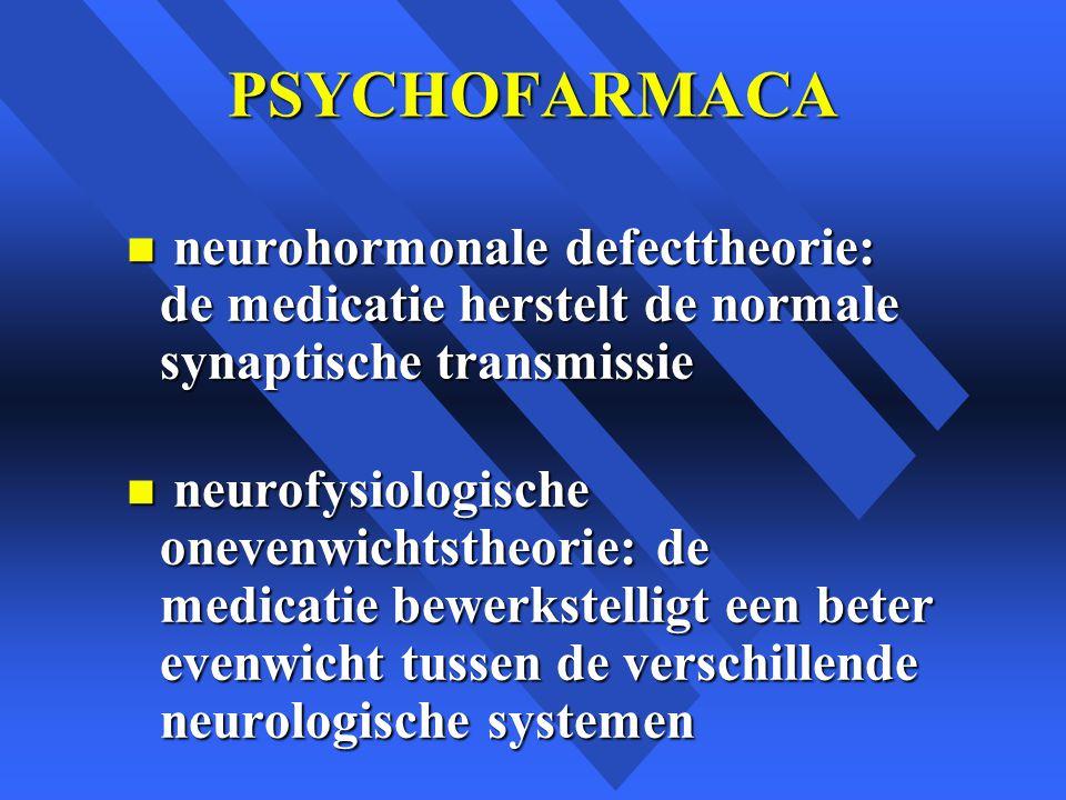 PSYCHOFARMACA n neurohormonale defecttheorie: de medicatie herstelt de normale synaptische transmissie n neurofysiologische onevenwichtstheorie: de medicatie bewerkstelligt een beter evenwicht tussen de verschillende neurologische systemen