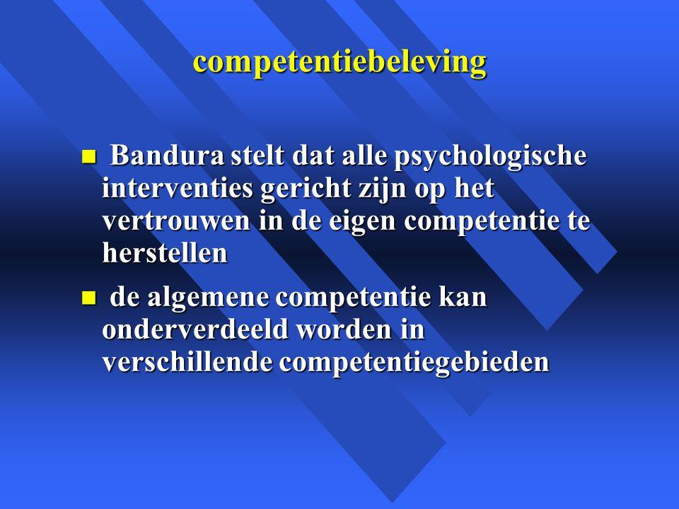 competentiebeleving n Bandura stelt dat alle psychologische interventies gericht zijn op het vertrouwen in de eigen competentie te herstellen n de algemene competentie kan onderverdeeld worden in verschillende competentiegebieden