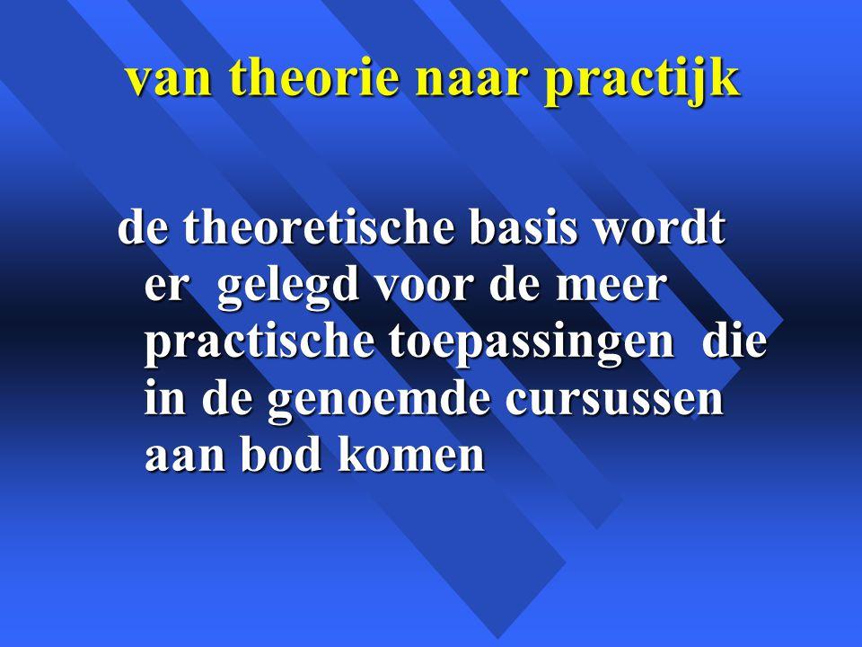 van theorie naar practijk de theoretische basis wordt er gelegd voor de meer practische toepassingen die in de genoemde cursussen aan bod komen