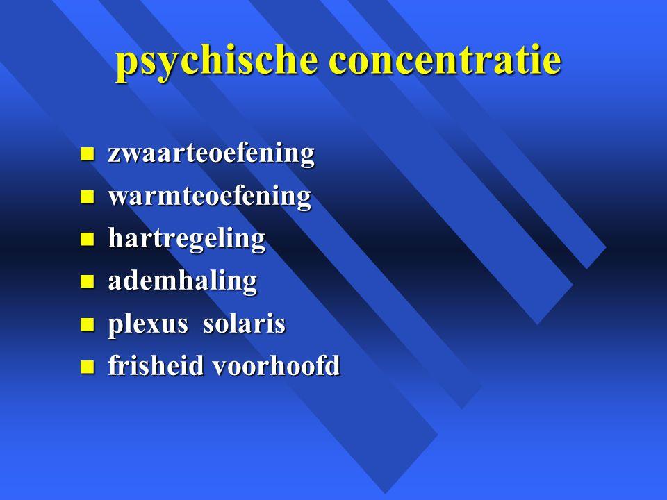 psychische concentratie psychische concentratie n zwaarteoefening n warmteoefening n hartregeling n ademhaling n plexus solaris n frisheid voorhoofd