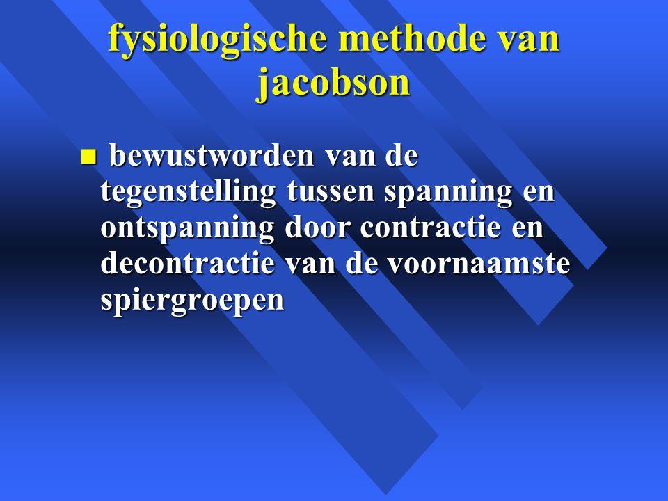 fysiologische methode van jacobson n bewustworden van de tegenstelling tussen spanning en ontspanning door contractie en decontractie van de voornaamste spiergroepen