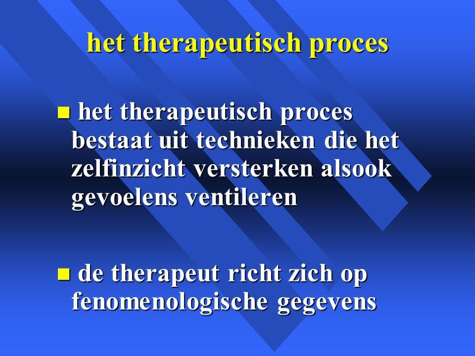 het therapeutisch proces n het therapeutisch proces bestaat uit technieken die het zelfinzicht versterken alsook gevoelens ventileren n de therapeut richt zich op fenomenologische gegevens