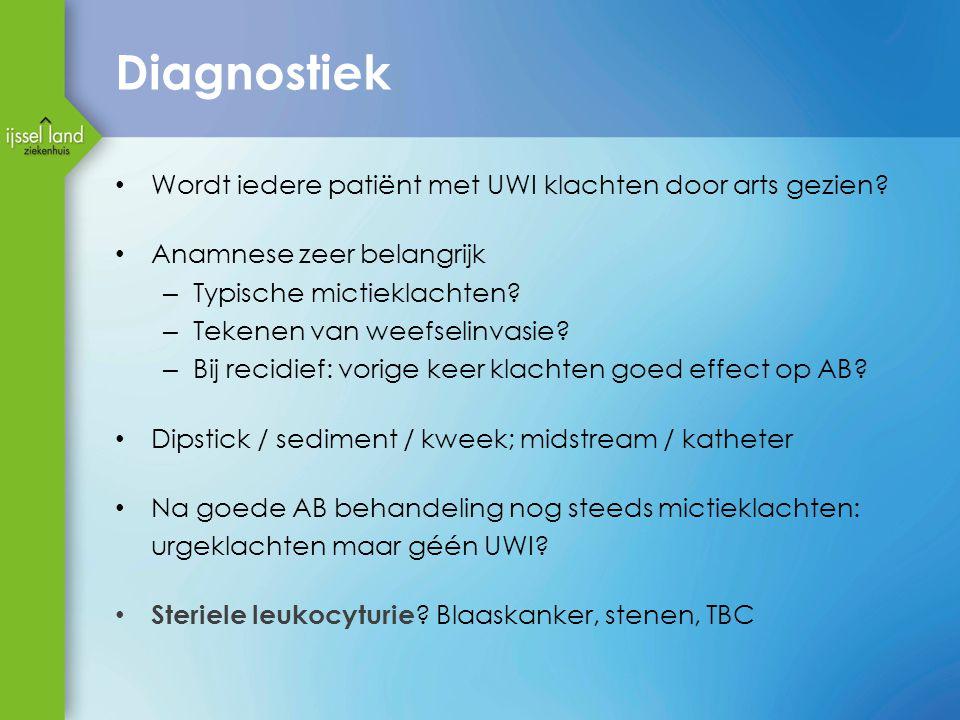 Diagnostiek Wordt iedere patiënt met UWI klachten door arts gezien.
