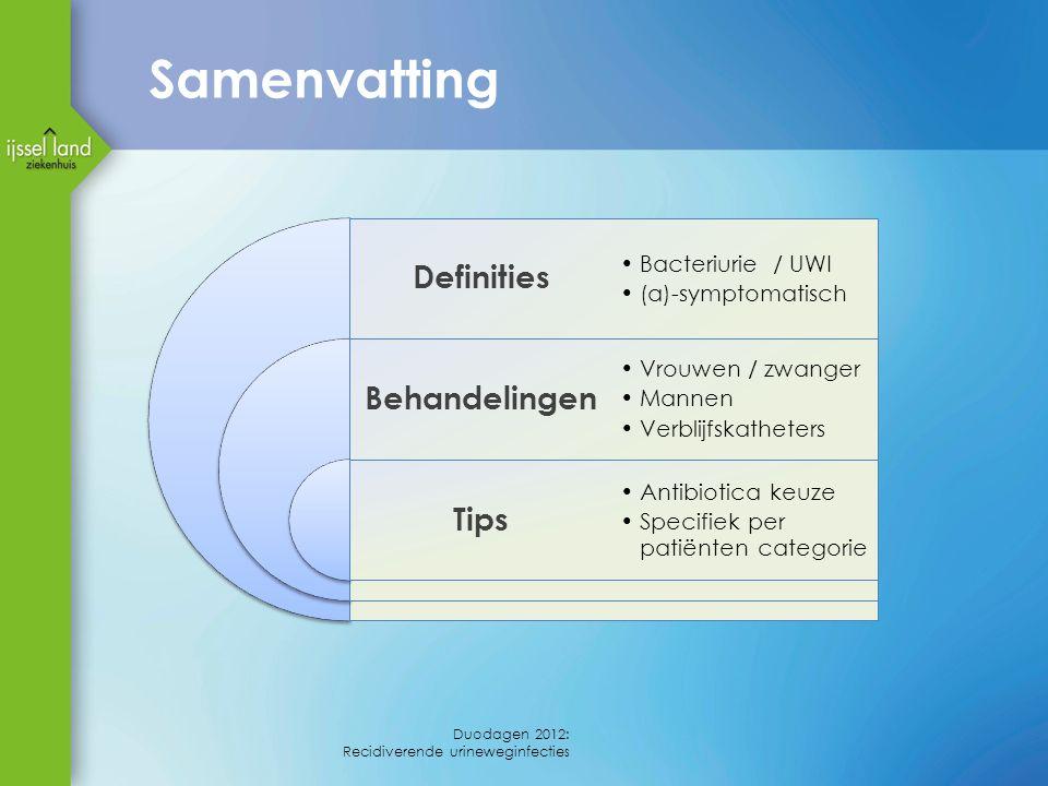 Definities Behandelingen Tips Bacteriurie / UWI (a)-symptomatisch Vrouwen / zwanger Mannen Verblijfskatheters Antibiotica keuze Specifiek per patiënte