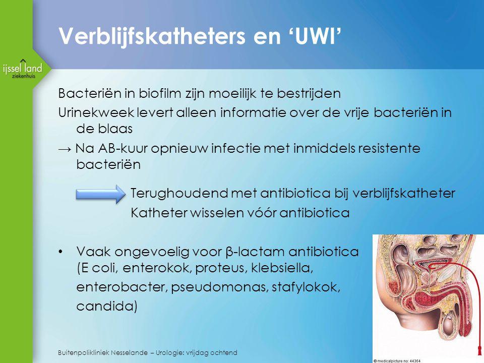 Verblijfskatheters en 'UWI' Bacteriën in biofilm zijn moeilijk te bestrijden Urinekweek levert alleen informatie over de vrije bacteriën in de blaas → Na AB-kuur opnieuw infectie met inmiddels resistente bacteriën Terughoudend met antibiotica bij verblijfskatheter Katheter wisselen vóór antibiotica Vaak ongevoelig voor β-lactam antibiotica (E coli, enterokok, proteus, klebsiella, enterobacter, pseudomonas, stafylokok, candida) 40 Buitenpolikliniek Nesselande – Urologie: vrijdag ochtend
