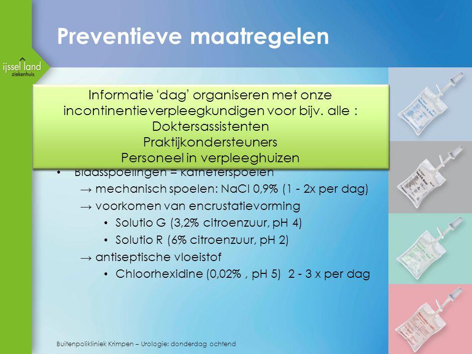 Preventieve maatregelen Kathetermaterialen en coatings die speciaal gericht zijn op preventie van enrustratie zijn m.n. siliconen, hydrogel, heparine