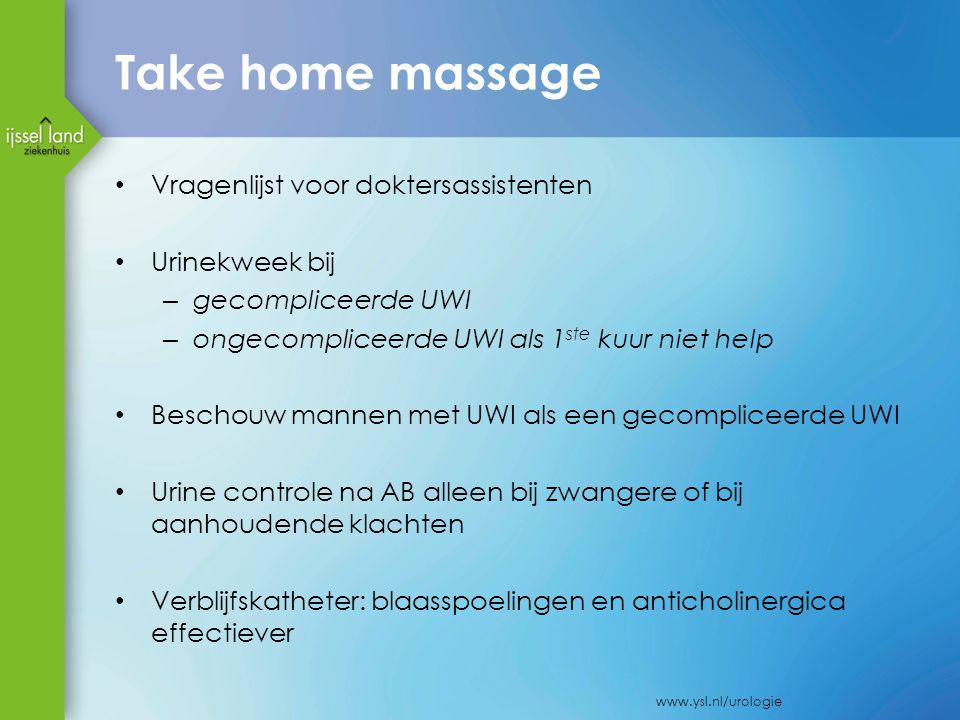 Take home massage Vragenlijst voor doktersassistenten Urinekweek bij – gecompliceerde UWI – ongecompliceerde UWI als 1 ste kuur niet help Beschouw man