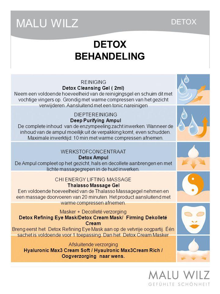 I. Die neuen Wirkstoffe REINIGING Detox Cleansing Gel ( 2ml) Neem een voldoende hoeveelheid van de reinigingsgel en schuim dit met vochtige vingers op