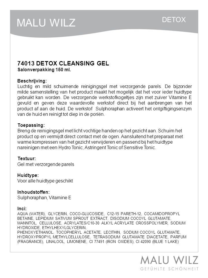 74013 DETOX CLEANSING GEL Salonverpakking 150 ml. Beschrijving: Luchtig en mild schuimende reinigingsgel met verzorgende parels. De bijzonder milde sa