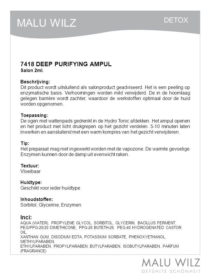 74014 DETOX AMPUL 2 ml Beschrijving: Het concentraat kenmerkt zich door zijn luchtige en gelachtige samenstelling.
