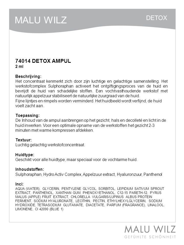 74014 DETOX AMPUL 2 ml Beschrijving: Het concentraat kenmerkt zich door zijn luchtige en gelachtige samenstelling. Het werkstofcomplex Sulphoraphan ac