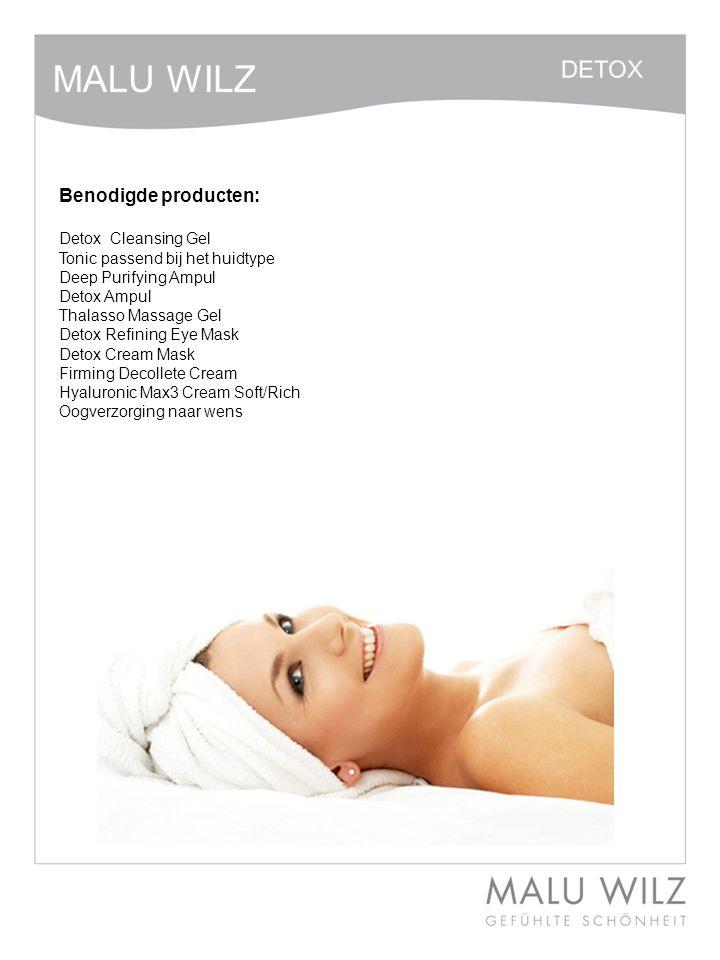 I. Die neuen Wirkstoffe Benodigde producten: Detox Cleansing Gel Tonic passend bij het huidtype Deep Purifying Ampul Detox Ampul Thalasso Massage Gel