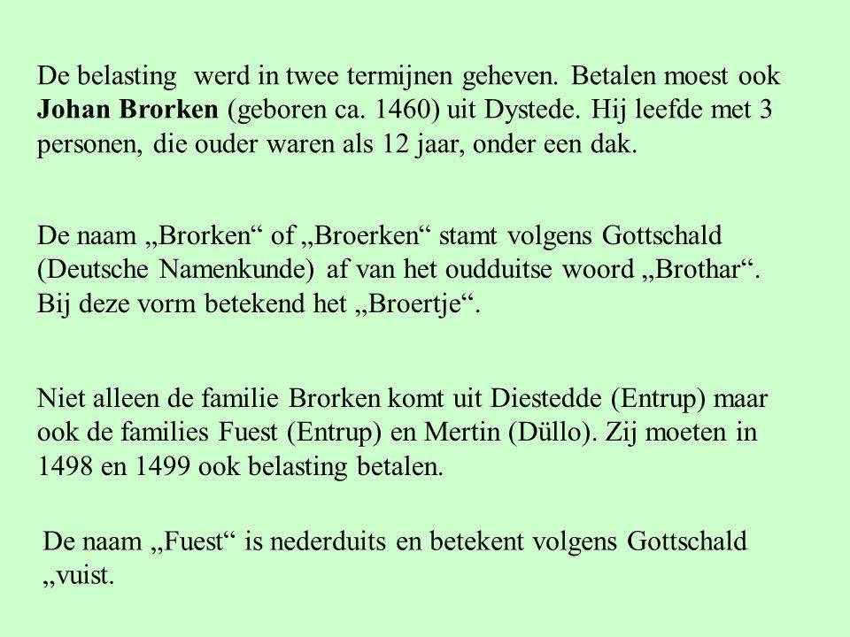"""De naam """"Brorken of """"Broerken stamt volgens Gottschald (Deutsche Namenkunde) af van het oudduitse woord """"Brothar ."""