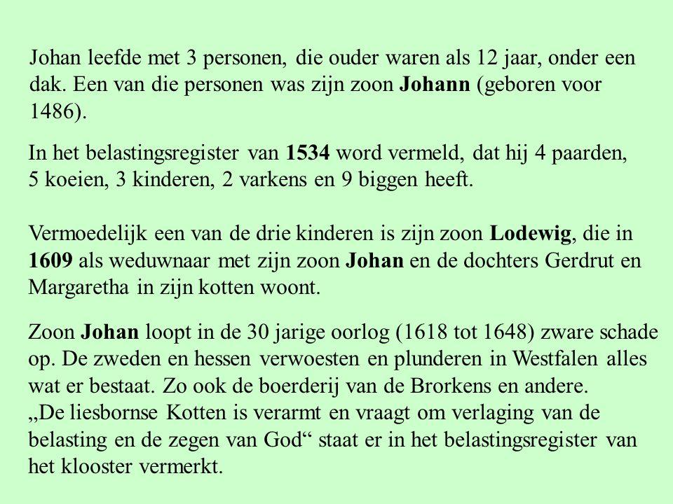 Johan leefde met 3 personen, die ouder waren als 12 jaar, onder een dak. Een van die personen was zijn zoon Johann (geboren voor 1486). In het belasti