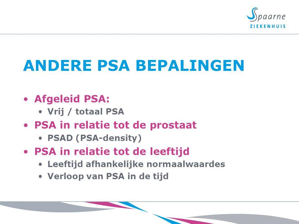 ANDERE PSA BEPALINGEN Afgeleid PSA: Vrij / totaal PSA PSA in relatie tot de prostaat PSAD (PSA-density) PSA in relatie tot de leeftijd Leeftijd afhank