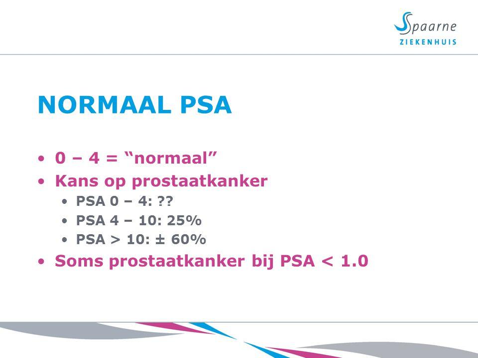 """NORMAAL PSA 0 – 4 = """"normaal"""" Kans op prostaatkanker PSA 0 – 4: ?? PSA 4 – 10: 25% PSA > 10: ± 60% Soms prostaatkanker bij PSA < 1.0"""