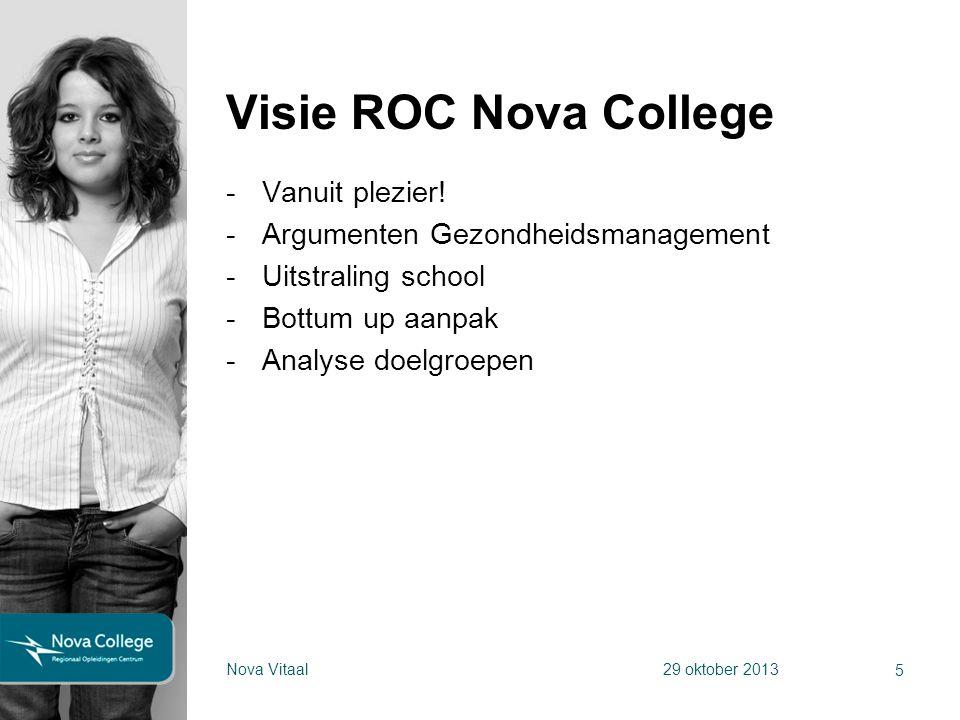 Visie ROC Nova College -Vanuit plezier! -Argumenten Gezondheidsmanagement -Uitstraling school -Bottum up aanpak -Analyse doelgroepen 5 Nova Vitaal29 o