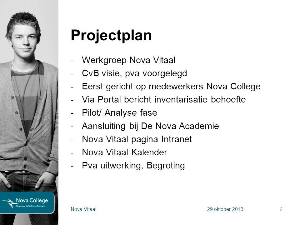 Projectplan -Werkgroep Nova Vitaal -CvB visie, pva voorgelegd -Eerst gericht op medewerkers Nova College -Via Portal bericht inventarisatie behoefte -