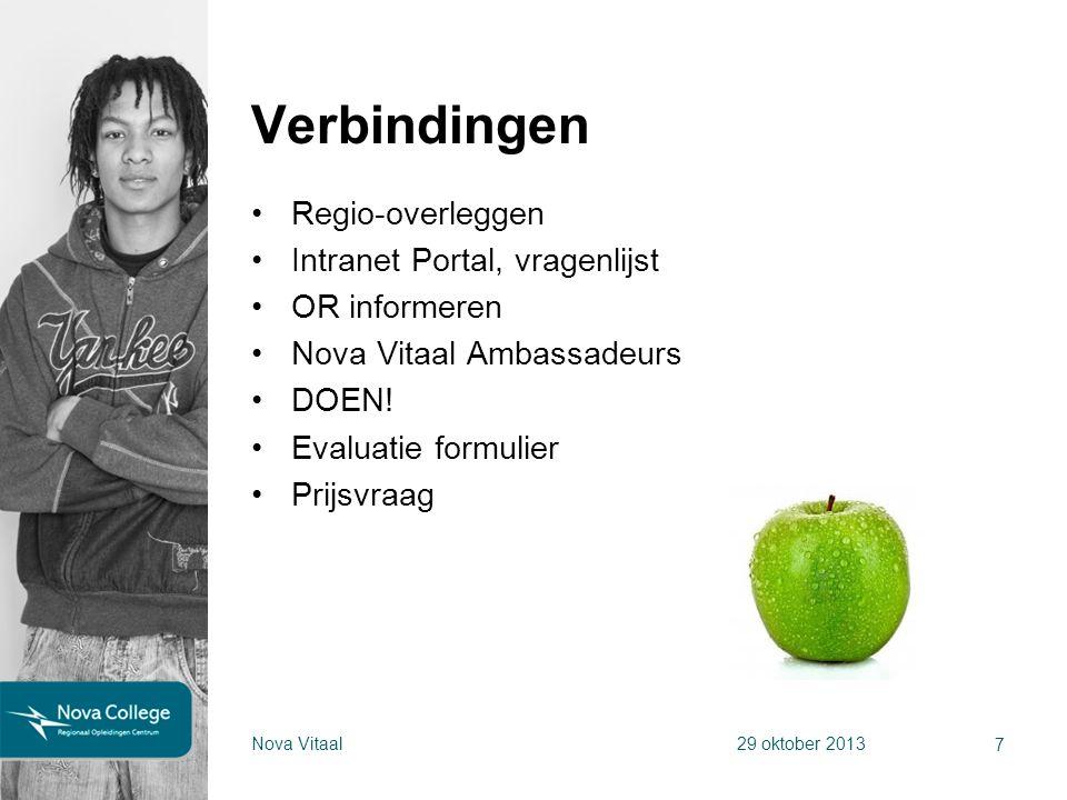 Regio-overleggen Intranet Portal, vragenlijst OR informeren Nova Vitaal Ambassadeurs DOEN! Evaluatie formulier Prijsvraag 7 Nova Vitaal29 oktober 2013